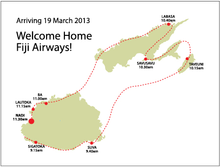 Fiji Airways Fly-by Route