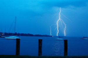 lightning strike and sailboat
