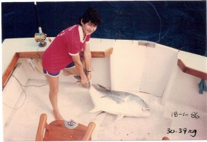 Pauline's fish was a World Record and defeated the previous size Record by over 30 lbs (about 14kg).
